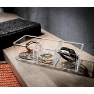 Organizér na šperky a kosmetiku Compactor – 3 přihrádky, čirý plast