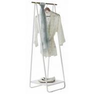 Compactor Nora White kovový stojan na šaty s kovovou policí na boty, 52 x 47 x 140 cm