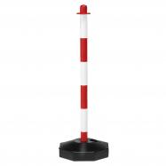 Zahradzovací stĺpik, červeno-biely, plastový, 900 mm, bal. 10 ks