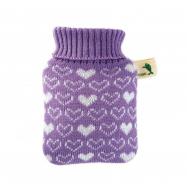 Dětský termofor Hugo Frosch Classic MINI s pleteným obalem - srdíčka, fialový