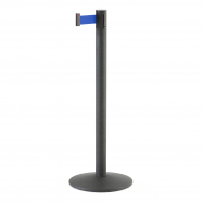 Zahradzovací stĺpik s pásom, 3650 mm, čierny, modrý pás