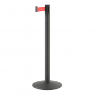 Zahradzovací stĺpik s pásom, 3650 mm, čierny, červený pás