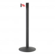 Zahradzovací stĺpik s pásom, 3650 mm, čierny, červenobiely pás