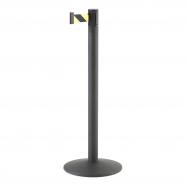 Zahradzovací stĺpik s pásom, 3650 mm, čierny, žltočierny pás