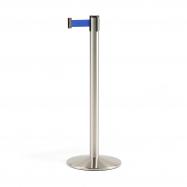 Zahradzovací stĺpik s pásom, 3650 mm, brúsená oceľ, modrý pás