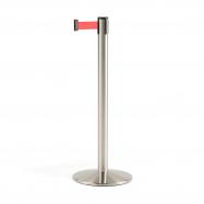 Zahradzovací stĺpik s pásom, 3650 mm, brúsená oceľ, červený pás