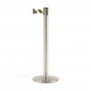 Zahradzovací stĺpik s pásom, 3650 mm, brúsená oceľ, žltočierny pás