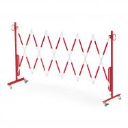 Rozťahovacia zábrana, s kolieskami, max. 3000 mm, červená / biela