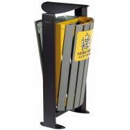 Venkovní koš na tříděný odpad - plasty, směsný, Rossignol Arkea 59285, 2x60 L, žlutý, šedý