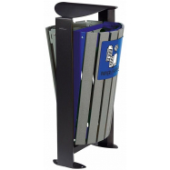 Venkovní koš na tříděný odpad - papír, směsný, Rossignol Arkea 59286, 2x60 L, modrý, šedý
