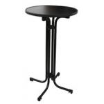 AntracitováMDF doska s priemerom 70 cm. Výška stola 110 cm. Stôl možno zložiť a ľahko uskladniť.
