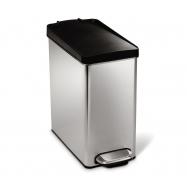 Pedálový odpadkový kôš Simplehuman - 10 l, hranatý, plastové veko, matná nerez oceľ