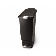 Pedálový odpadkový kôš Simplehuman - 40 l, úzky, čierny plast