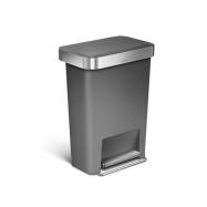 Pedálový odpadkový kôš Simplehuman - 45 l, vrecko na sáčky, obdĺžnikový, šedý plast / nerez