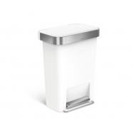 Pedálový odpadkový kôš Simplehuman - 45 l, vrecko na sáčky, obdĺžnikový, biely plast / nerez
