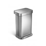 Pedálový odpadkový kôš Simplehuman - 45 l, matná oceľ, FPP, vrecko na sáčky