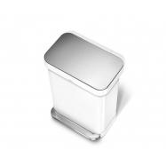 Pedálový odpadkový kôš Simplehuman - 45 l, biela oceľ, vrecko na sáčky