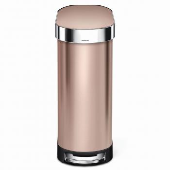 Úzky pedálový odpadkový kôš Simplehuman Slim - 45 l, ROSE GOLD oceľ, FPP