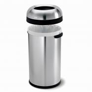 Odpadkový kôš Simplehuman do komerčných priestorov - 60 l, guľatý, otvorený, matná nerez oceľ