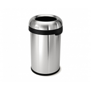 Odpadkový kôš Simplehuman do komerčných priestorov - 80 l, guľatý, otvorený, matná nerez oceľ