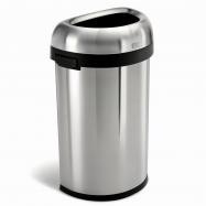 Odpadkový kôš Simplehuman pre komerčné haly, 60 l, polguľatý, otvorený, kartáčovaná oceľ