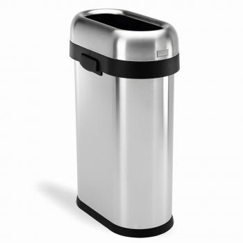 Odpadkový kôš Simplehuman pre obchodné priestory - 50 l, SLIM, otvorený, kartáčovaný nerez