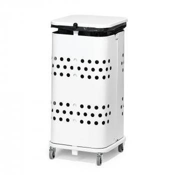 Stojan na odpadkové vrecia s vekom, 60 l, biela