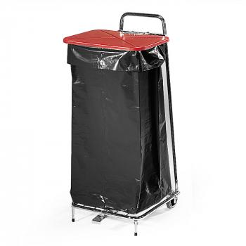 Stojan na odpadkové vrecia 125 l, červené veko