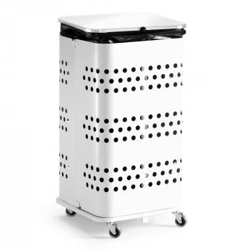 Stojan na odpadkové vrecia s vekom, 125 l, biela