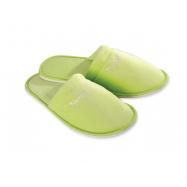 Papuče froté velúr NP, zelené, uzavretá špička, balenie 100 ks