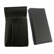 Koženkový set - kasírka (čierna, vrúbkovaná, 2 zipsy) a vrecko New Barex