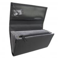 Čašnícka kasírka - 2 zipy, koženka, čierna