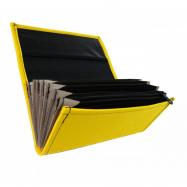 Číšnická kasírka - 2 zipy, koženka, žltá