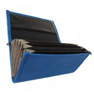 Čašnícka kasírka - 2 zipsy, koženka, modrá