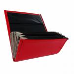 Koženková dvojzipsová kasírka/flek v červenej farbe, vzorom napodobňujúcom kožu. Štandardné prevedenie kasírky vhodné pre všetkých čašníkov a servírky.