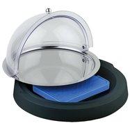 Chladiaca vitrína guľatá na plastovom podstavci ø 420x60 mm, čierna