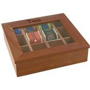 Krabica na čaj, tmavé drevo 310x280x90 mm