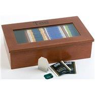 Krabica na čaj, tmavé drevo 335x200x90 mm