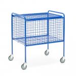 Drátěný vozík s víkem, madly na kratších stranách a otočnými kolečky.   Do většiny prostředí Na poštu, prádlo atd. Lze uzamknout visacím zámkem