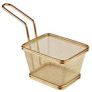 Mini košík pre servírovanie vyprážaných pokrmov, 130x105 mm zlatý