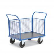 Plošinový vozík, 2 madlá a 3 drôtené steny, 1165x700x1020 mm, bez bŕzd