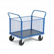 Plošinový vozík, 2 madlá a 4 drôtené steny, 1165x700x1020 mm, bez bŕzd