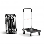 Skládací plošinový vozík s výškově nastavitelnou rukojetí.   Nastavitelná rukojeť Skládací konstrukce Nosnost 150 kg