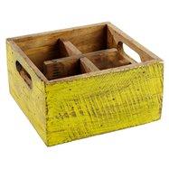 Drevená skrinka s 4 priehradkami, 170x170x100 mm, žltá