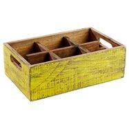 Drevená skrinka s 6 priehradkami, 270x170x100 mm, žltá