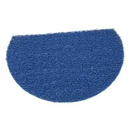 Modrá vinylová protišmyková sprchová polkruhová rohož FLOMA Spaghetti - dĺžka 40 cm, šírka 59,5 cm a výška 1,2 cm
