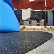 Gumová ochranná tlmiace oválna podložka pod bazén, vírivku FLOMA PoolPad - dĺžka 288,6 cm, šírka 193 cm a výška 0,8 cm
