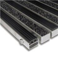 Textilné gumová hliníková vnútorné vstupná rohož FLOMA Alu Standard - dĺžka 100 cm, šírka 100 cm a výška 2,2 cm