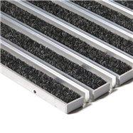 Textilné hliníková kefová vnútorné vstupná rohož FLOMA Alu Extra - dĺžka 100 cm, šírka 100 cm a výška 1,7 cm