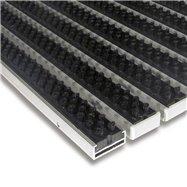 Čierna hliníková vonkajšia kefová vstupná rohož FLOMA Alu Super - dĺžka 100 cm, šírka 100 cm a výška 1,7 cm